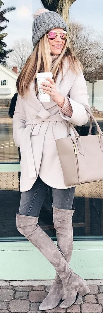 #winter #fashion /  Grey Beanie / Cream Coat / Dark Skinny Jeans / Grey Velvet OTK Boots
