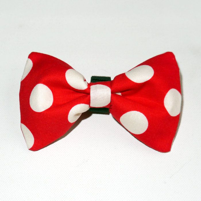 Christmas Dog Bow Tie, gift for dog, Pet Bow Tie, Bowtie, Collar Attachment, model Toadstool by PSIAKREW on Etsy