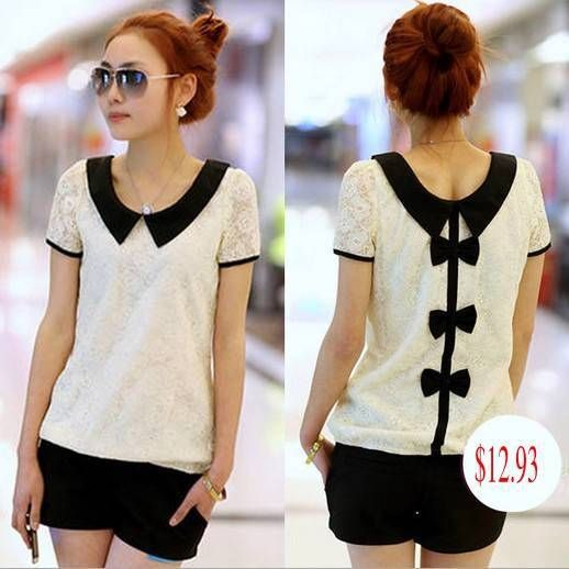 Find More Blouses & Shirts Information about womens tops fashion 2014 vintage women's short sleeve bow blouse lace blouses Tops Tees blusa de renda camisa feminina M 3XL,High Quality Blouses & Shirts from topsellerworld on Aliexpress.com