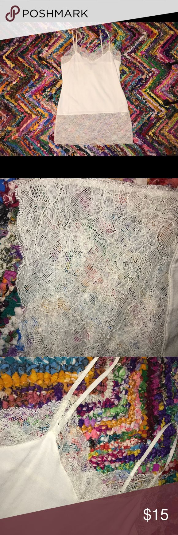 WHBM White Tank with Lace Size XS NWOT This is a brand new top! Great for layering or just lounging. Pair it with a tight, leather bomber jacket and some mean boots. Straps are adjustable. Never been worn White House Black Market Tops Tank Tops