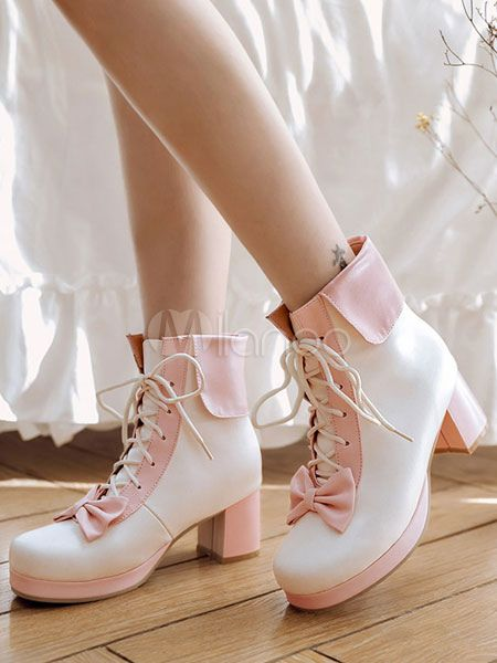b333f175444 Sweet Lolita Boots Two Tone Square Toe Chunky Heel Lace Up Peach ...