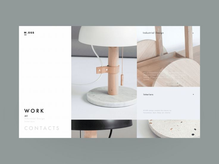 M.OSS Industrial Designer Promo Website Work & Contacts Pages by Zhenya & Artem
