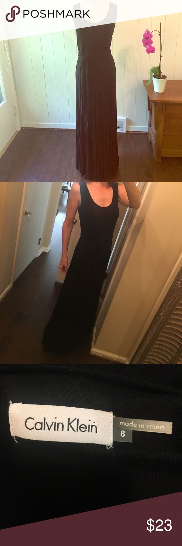 "Calvin Klein Black Maxi Dress size 8 Long... I mean long! This is dramatic and cool and chic. Just a pair of gold hoops, some pretty flat sandals and sunglasses and you can hit the boat! 😎Or poolside party! Plain tank style, front and back. ♦️19"" across bust. Too difficult to measure length, but I'm 5'10"" and it hits the floor on me. Long tie dash. Worn only a couple times, so very gently used. Calvin Klein Dresses Maxi"
