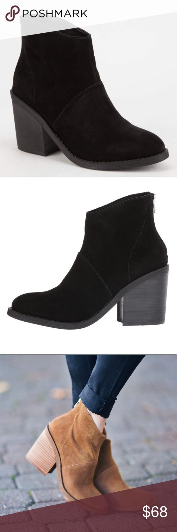Steve Madden black suede shrines ankle bootie Brand new without box. Size 9.5. Genuine suede. Back zipper. Stacked heel. So cute and right on trend! I posted a picture of these in tan to give you an idea of how they look on. Steve Madden black suede shrines ankle bootie. Steve Madden Shoes Ankle Boots & Booties