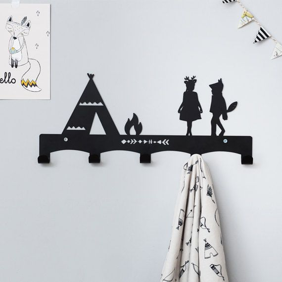 Teepee Children's Coat Rack / Nursery Wall hanger / Kid's Coat Rack / Kids Room hooks / Tribal Wall Decor