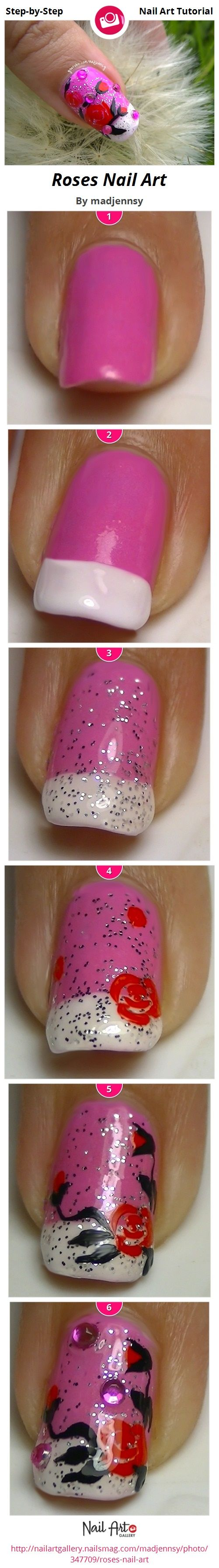 Roses Nail Art by madjennsy -  Step-by-Step Tutorial
