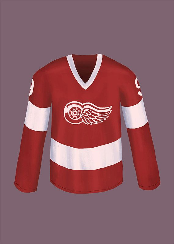 """Cameron's Detroit Red Wings jersey as seen in Ferris Bueller's Day Off. """"When Cameron was in Egypt's land... let my Cameron go...""""  #ferrisbuellersdayoff #johnhughes #illustration"""