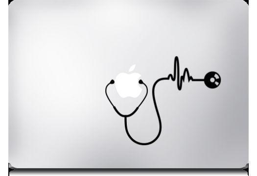 Stethoscope - Mac Apple Logo Laptop Vinyl Decal Sticker Macbook Nurse Doctor