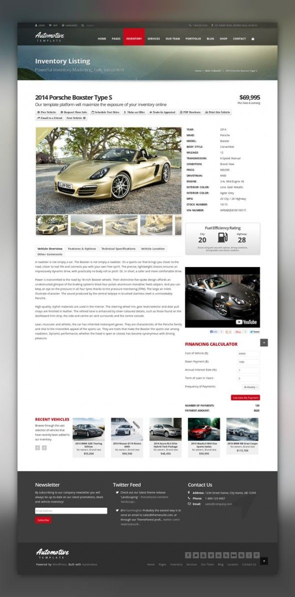 Automotive Car Dealership Business WordPress Theme auto, automotive, car, car dealer, car dealership, dealer, finance calculator, inventory, inventory management, inventory search, listing, search, vehicle, vehicle listing, vehicle search Automotive WordPress Theme (for HTML Version click here) Finally a gorgeous website template for car dealerships that doesn't just look beautiful, but also includes complete easy-to-use functionality. Wheth...