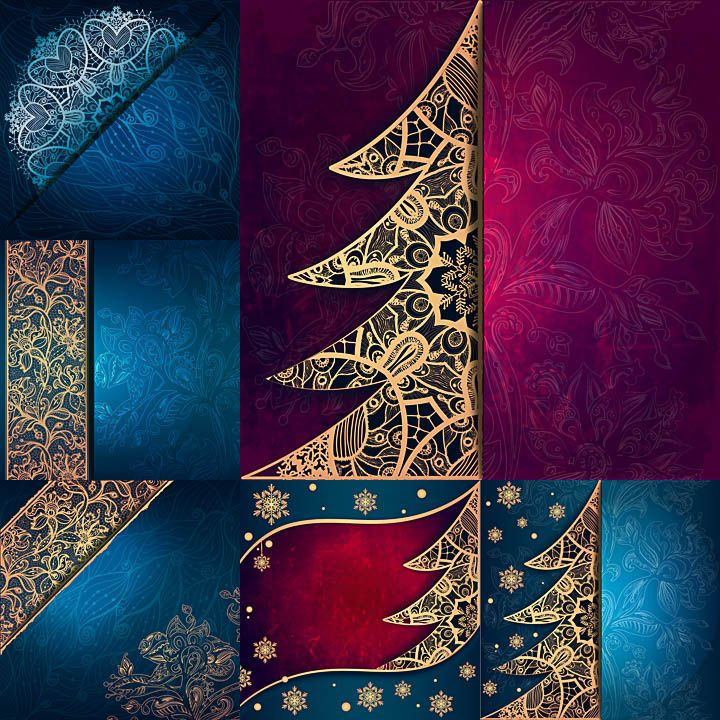 Set of vector Christmas backgrounds with Christmas trees and nice patterns for your designs. Free Christmas templates for 2017 creative designs.