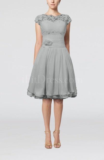 Grey Cinderella Scalloped Edge Short Sleeve Chiffon Knee Length Lace Bridesmaid Dresses - iFitDress.com