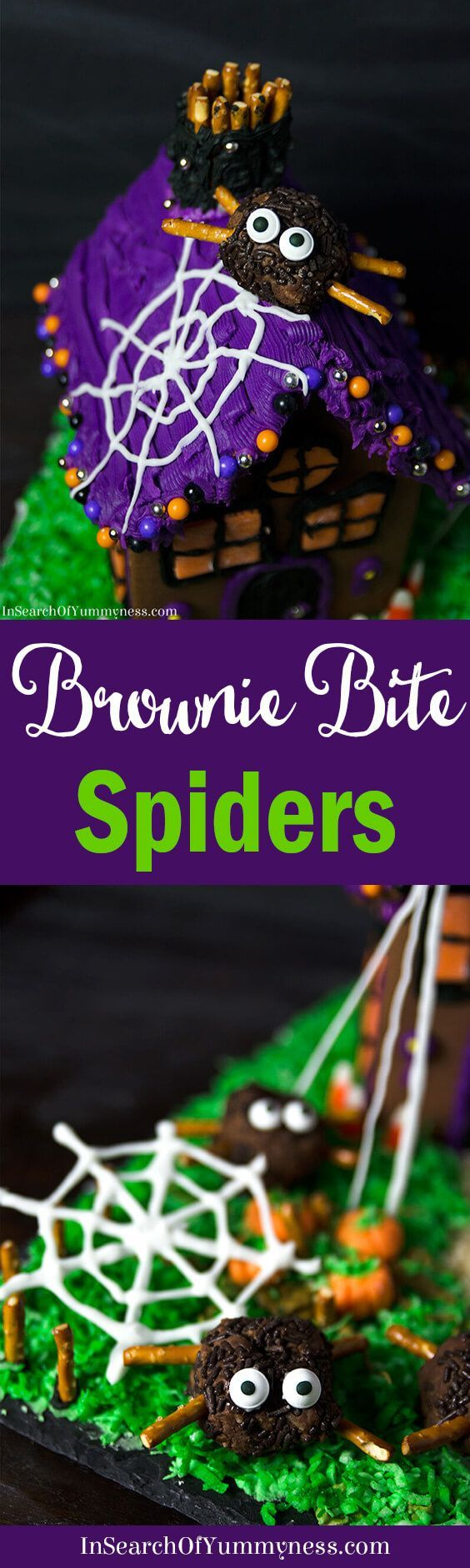 Make these cute spider-shaped treats for your next Halloween party! Get the #recipe for these fudgey brownie bites at InSearchOfYummyness.com.