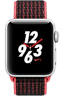 Apple Watch Series 3, 38mm Silver Aluminum Case with Bright Crimson/Black Nike Sport Loop, Silver/Bright Crimson