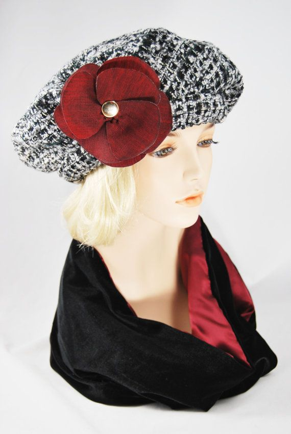 Absolutely stunning, one of a kind, Black & White Beret in Italian Wool, with large Red flower. Wool pattern also has a dark green thread running