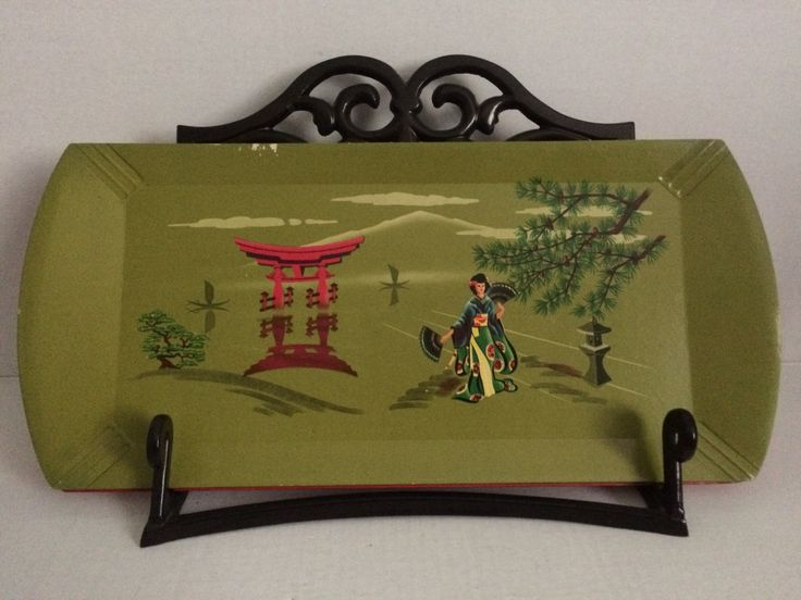 Vintage Hasko De Luxe Asian trays, set of 5 trays, lithograph paper over wood, red Asian trays, green Asian trays, TV trays by sipscafevintage on Etsy