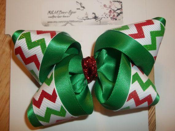 Christmas Chevron Boutique Hair Bow