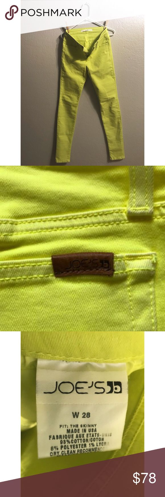"""Neon yellow/green Joes Jeans. Never worn, like new Put your party pants on! These highlighter yellow-green neon jeans will liven up any situation! 💛💚 Like new, never worn! They are in perfect condition! Legs are long, too long for me, I am 5""""4. Joe's Jeans Jeans Skinny"""