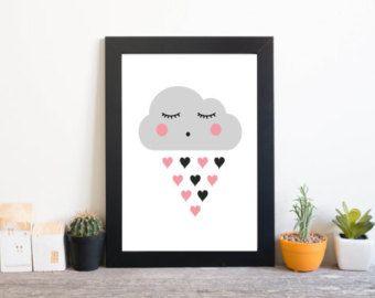 Cute cloud print Nursery print Nursery wall art Cute by NorseKids