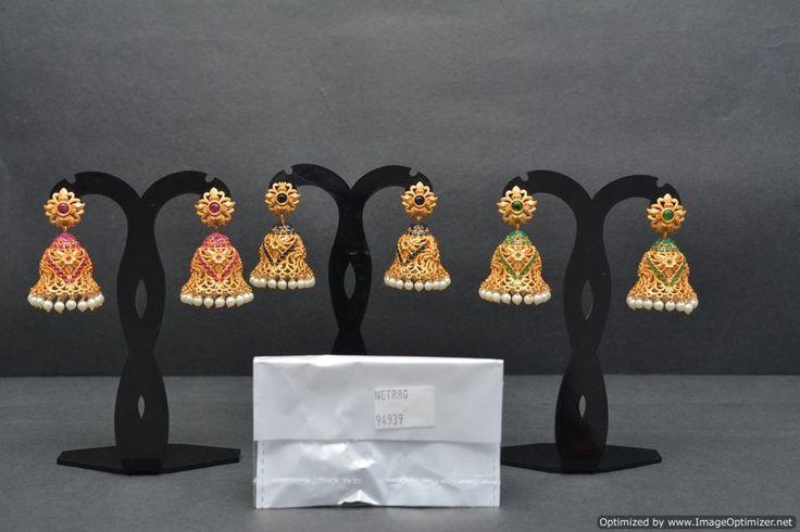 Indian Bollywood Jewelry Gold Jumka Ethnic Bridal Traditional Women Earrings #VardhamanGoodwill