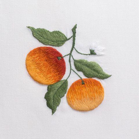 OrangesHand Towel - White Cotton – Henry Handwork