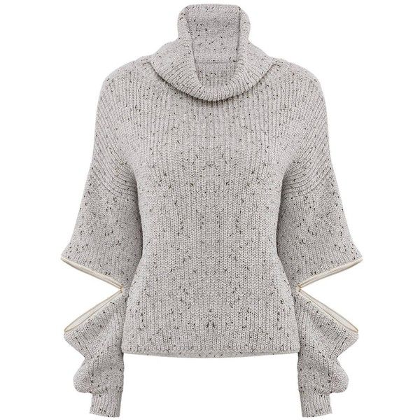 Yoins Grey High Neck Jumper ($30) ❤ liked on Polyvore featuring tops, sweaters, jumper, yoins, blouses, black, shirts & tops, zip shirt, gray knit sweater and gray shirt