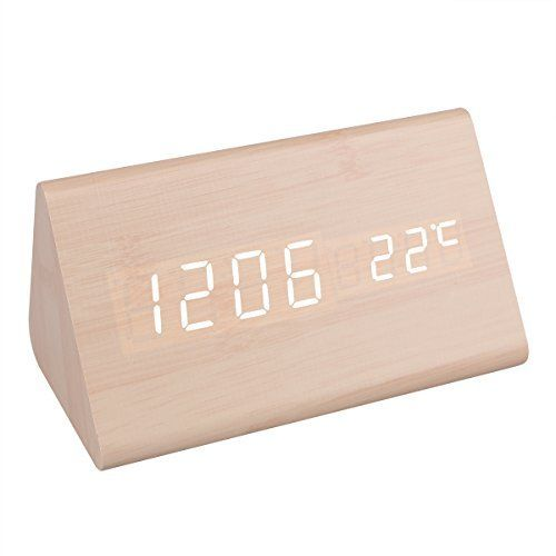 Description: Fashionable and portable digital desktop alarm clock for home  u0026 office. Produced with natural material bringing you a