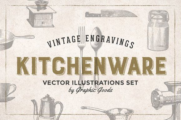 Kitchen Tools Engravings by Graphic Goods on @creativemarket