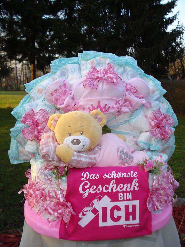 """Windeltorte""""1.Teddybär u.Body mit Spruch"""