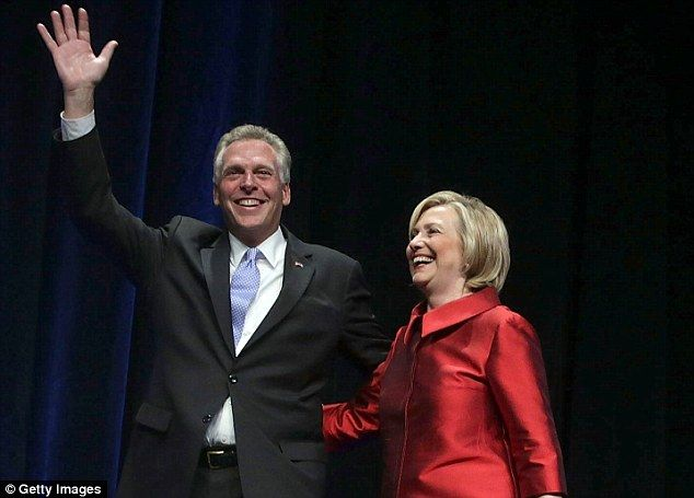 So close: Hillary Clinton headlines a fundraiser for the Common Good VA and walks on stage with Terry McAuliffe, the Virginia governor who controls its cash. That month it started channeling money to Jill McCabe's campaign - #DrainTheSwamp