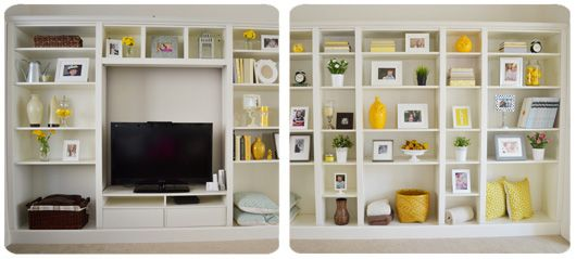 This awesome site takes IKEA furniture and turns it into nuch better (DIY) custom furniture. Lots of great ideas, like this built in Billy bookcase