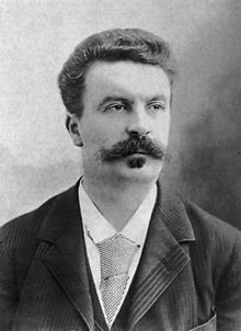 Guy de Maupassant fotograferad av Félix Guy de Maupassant Writer Henri René Albert Guy de Maupassant was a French writer, remembered as a master of the short story form, and as a representative of the naturalist school of writers, who depicted human lives and destinies ... WikipediaNadar 1888.jpg