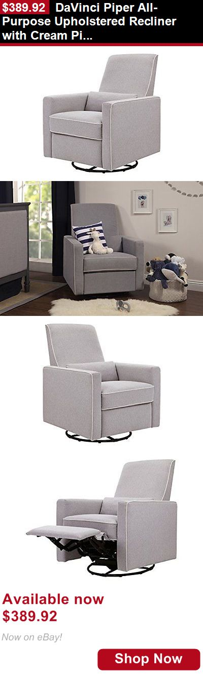 Nursery Furniture Sets: Davinci Piper All-Purpose Upholstered Recliner With Cream Piping, Grey Finish BUY IT NOW ONLY: $389.92