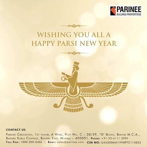 Parinee Realty wishes you all a very Happy Parsi New Year www.parinee.com ‪#‎ParsiNewYear2016‬ ‪#‎Celebration‬ ‪#‎Occasion‬