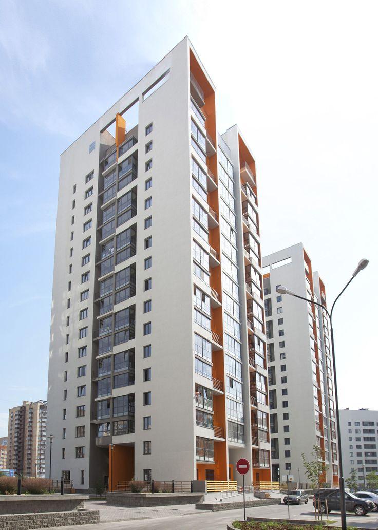 """Жилые дома по адресу ул. Эрвье 24, микрорайон Европейский, Тюмень. Архитектурное Бюро """"Оса"""""""