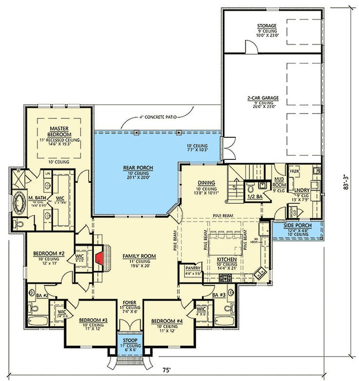 Four Bed Southern Home Plan With Optional Bonus Room   56412SM | 1st Floor  Master Suite