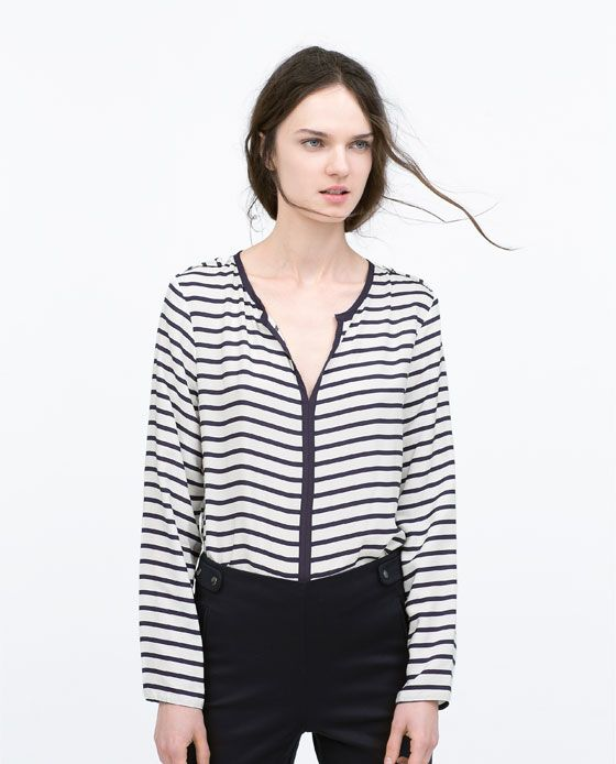 Image 2 of STRIPED SHIRT WITH CONTRAST PIPING from Zara