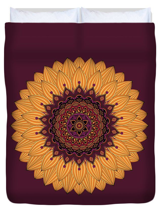 Mandalas Duvet Cover featuring the digital art Sunflower Mandala by Sharon Norman