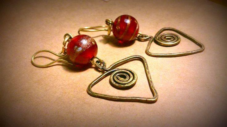 SALE 2017 Handmade Boho oriental earrings  oxidized  forged brass Indian glass beads,EGST,OOAK, gift for her by SueEllenDreamland on Etsy