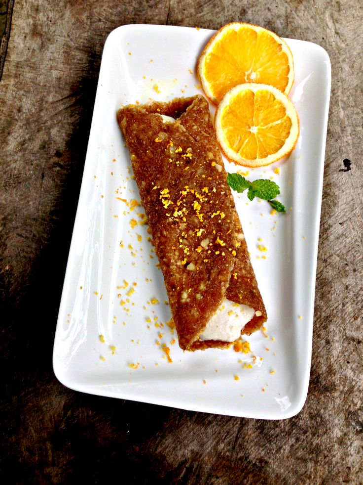 Ginger snap crepe with white chocolate orange cream. One of the recipes from All you Need Is Chocolate. #rawfood #vegan #glutenfree #sugarfree #dairyfree #chocolate
