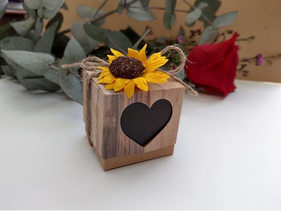 Picture Of Rustic Wedding Favor Boxes Heart Chalkboard Sunflower