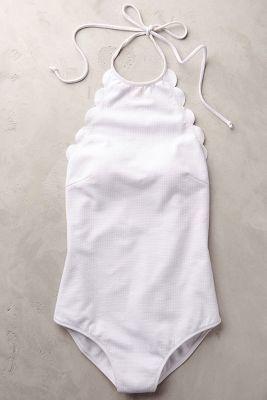 Marysia Scalloped One-Piece White L Swimwear...black or favorite blue instead