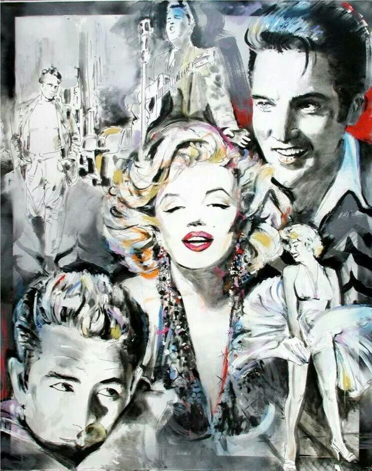 Marilyn Monroe, James Dean, Elvis Presley Poster