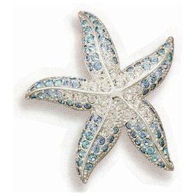 Blue and Clear Swarovski Crystal Starfish Silver Plated Fashion Pin, 1 1/2 inch diameter