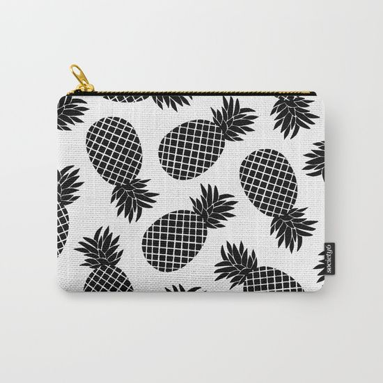 Pineapple In Black Carry-All PouchBlack and white Pineapple pattern. Pineapple black and white summer pattern. @society6 #redbubble #pattern #summer #print #pattern #pineapple #white #black&white #society6 #printmaker #print #fashion #trends #bag #pouch
