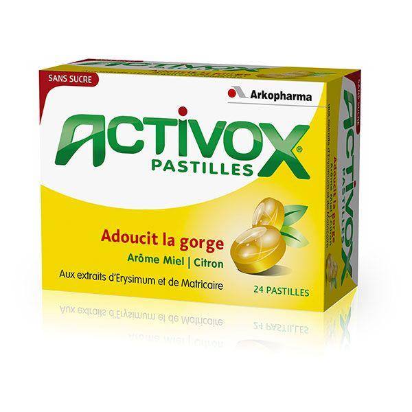 Les pastilles ACTIVOX Miel Citron SANS SUCRE contiennent de l'Erisymum et de la Matricaire connus pour leur action adoucissante au niveau de la gorge. Elles procurent une sensation de fraîcheur et sont aussi conseillées en cas de fatigue des cordes vocale (enrouement).