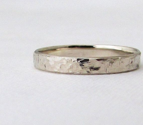 Gold Wedding Band Mens White Gold Hammered Wedding by SilverSmack