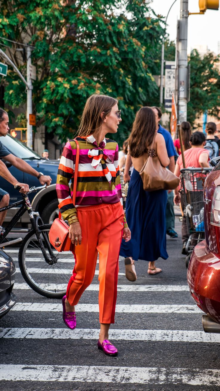 """striped pussy bow blouse + cropped """"harem"""" pants + loafer + saddle bag ...all in bright colors"""