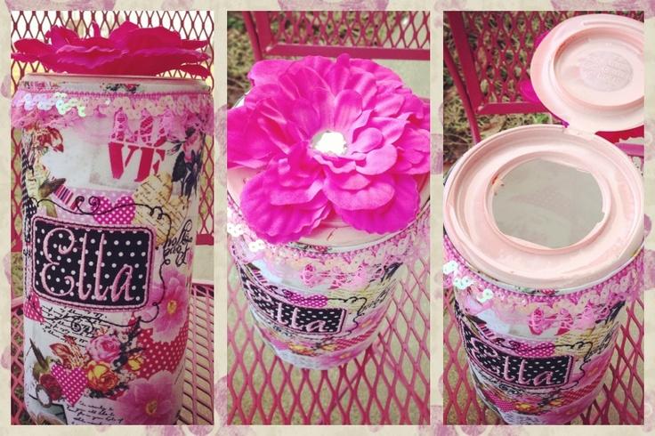 Ella's Valentines box. I made it using a Clorox wipe