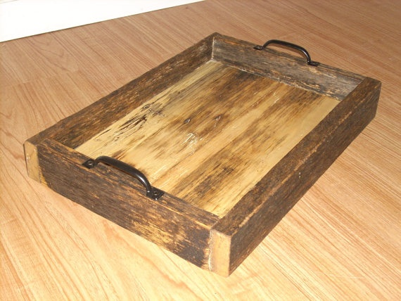 Tray Rustic Reclaimed Wood Primitive Serving By