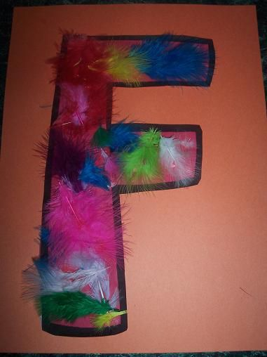 Our Crafts ~N~ Things preschool kindergarten letter F feather craft